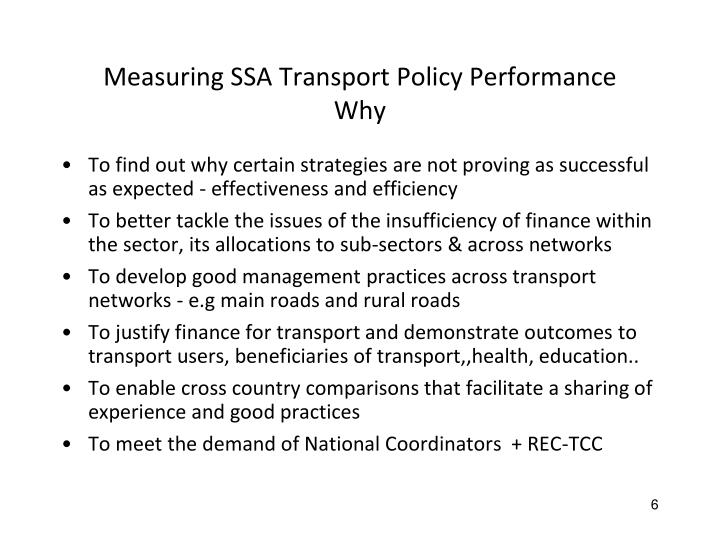 Measuring SSA Transport Policy Performance