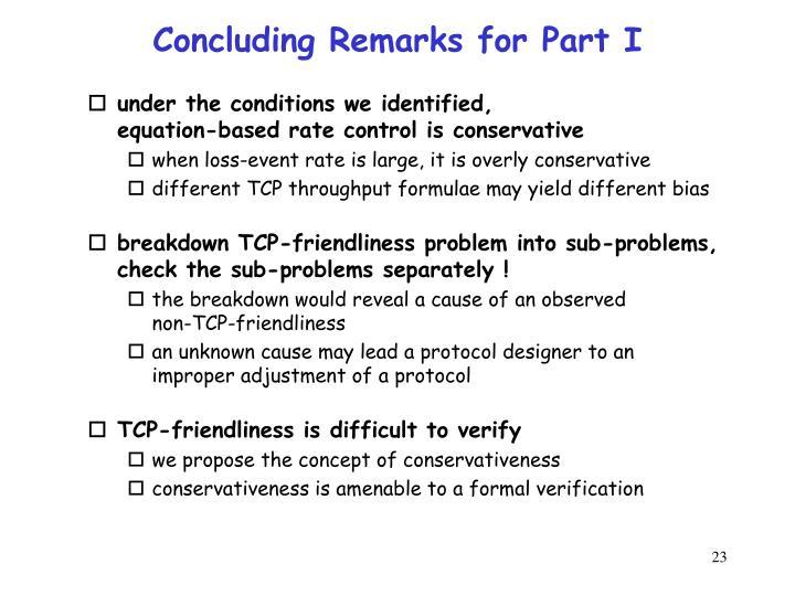 Concluding Remarks for Part I
