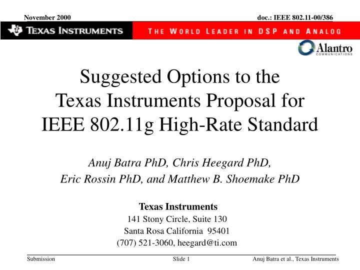 Suggested options to the texas instruments proposal for ieee 802 11g high rate standard