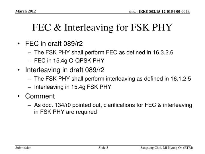 Fec interleaving for fsk phy
