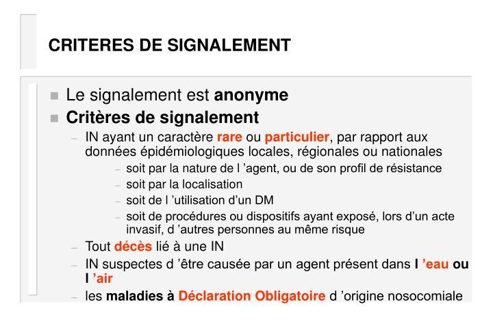 CRITERES DE SIGNALEMENT