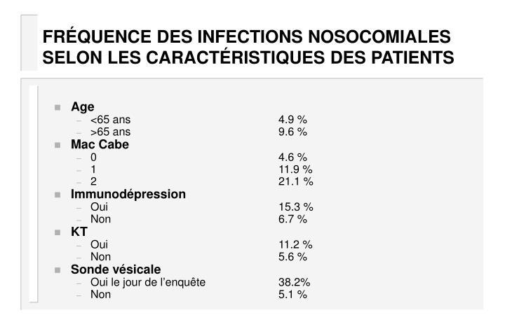 FRÉQUENCE DES INFECTIONS NOSOCOMIALES SELON LES CARACTÉRISTIQUES DES PATIENTS