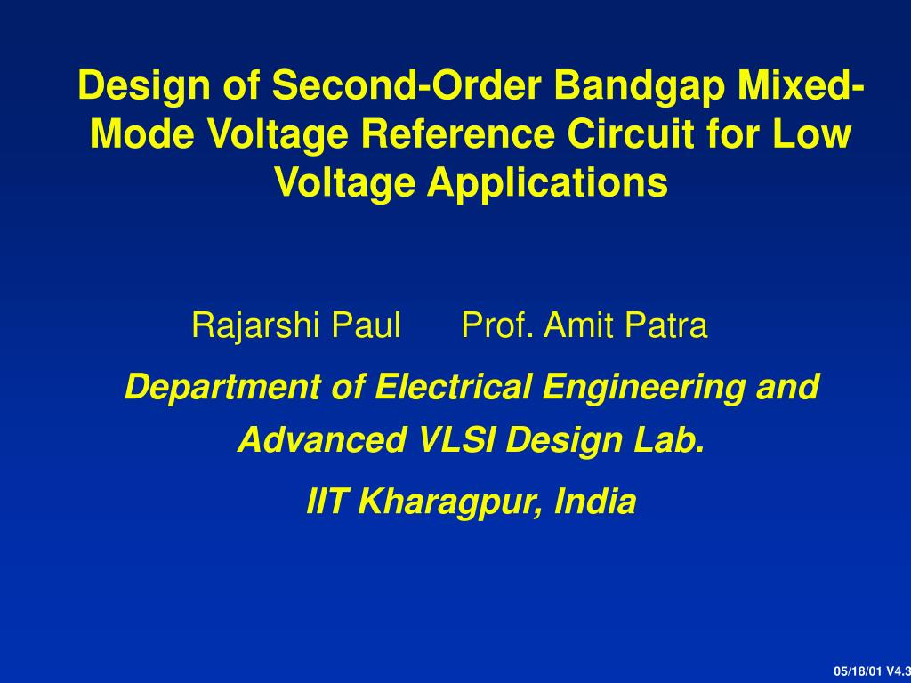 Ppt Design Of Second Order Bandgap Mixed Mode Voltage Reference Rlc Low Pass Filter Circuit For Pinterest Applications N