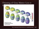 thinning of gray matter less is more