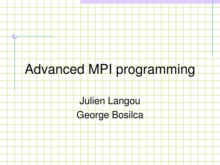 advanced mpi programming n.