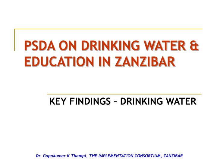 PSDA ON DRINKING WATER & EDUCATION IN ZANZIBAR