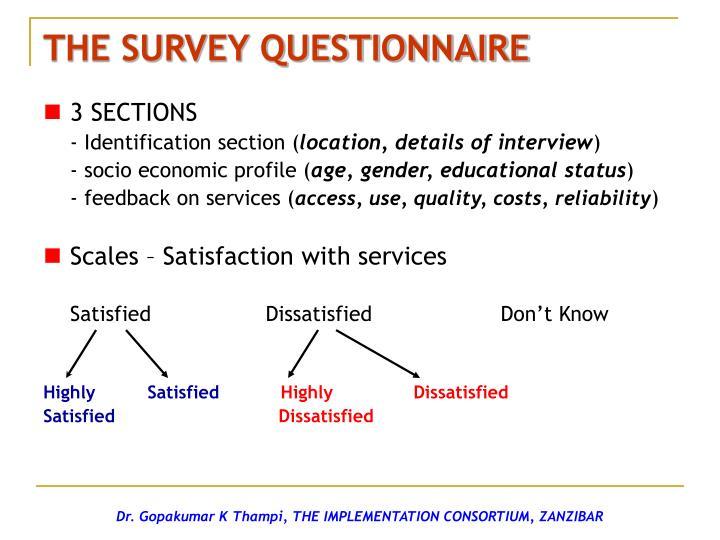 THE SURVEY QUESTIONNAIRE