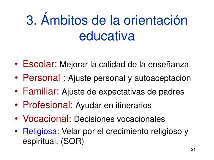 3. Ámbitos de la orientación educativa
