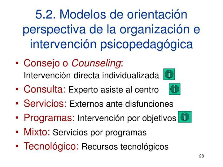 5.2. Modelos de orientación perspectiva de la organización e intervención psicopedagógica