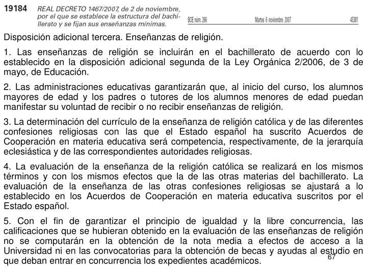 Disposición adicional tercera. Enseñanzas de religión.