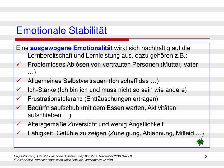Emotionale Stabilität