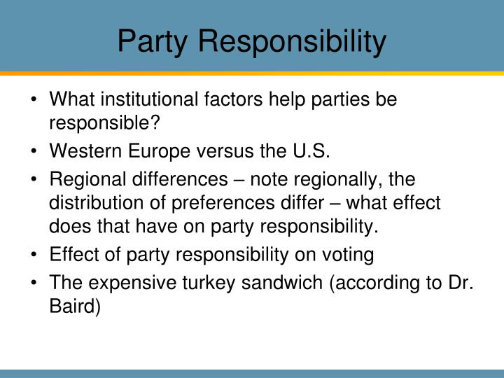Party Responsibility
