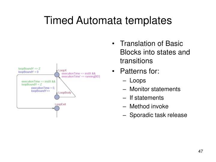 Translation of Basic Blocks into states and transitions