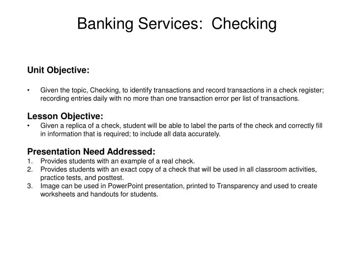Banking services checking
