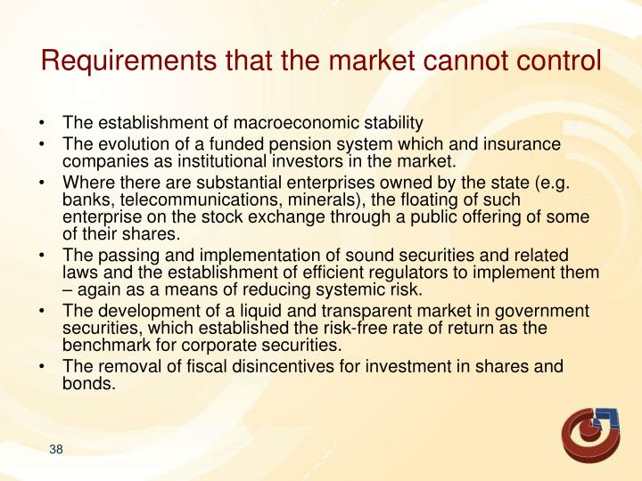 Requirements that the market cannot control