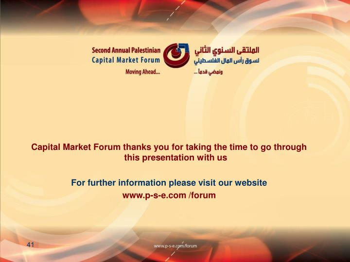 Capital Market Forum thanks you for taking the time to go through this presentation with us