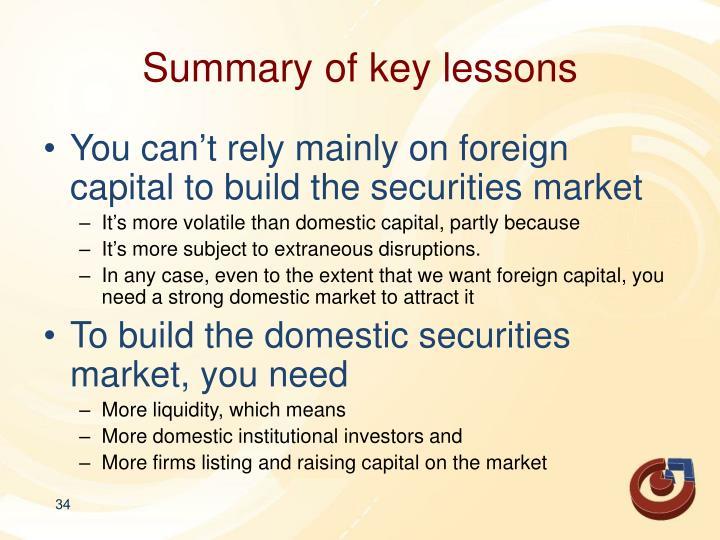 Summary of key lessons
