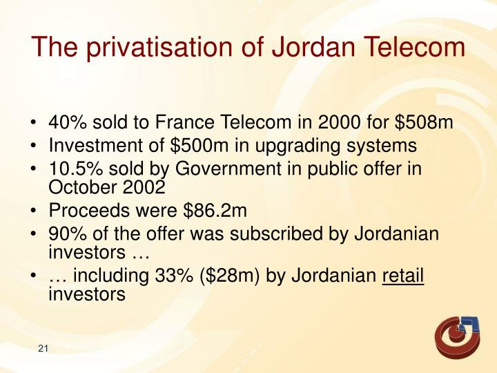 The privatisation of Jordan Telecom