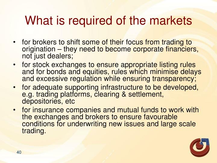 What is required of the markets