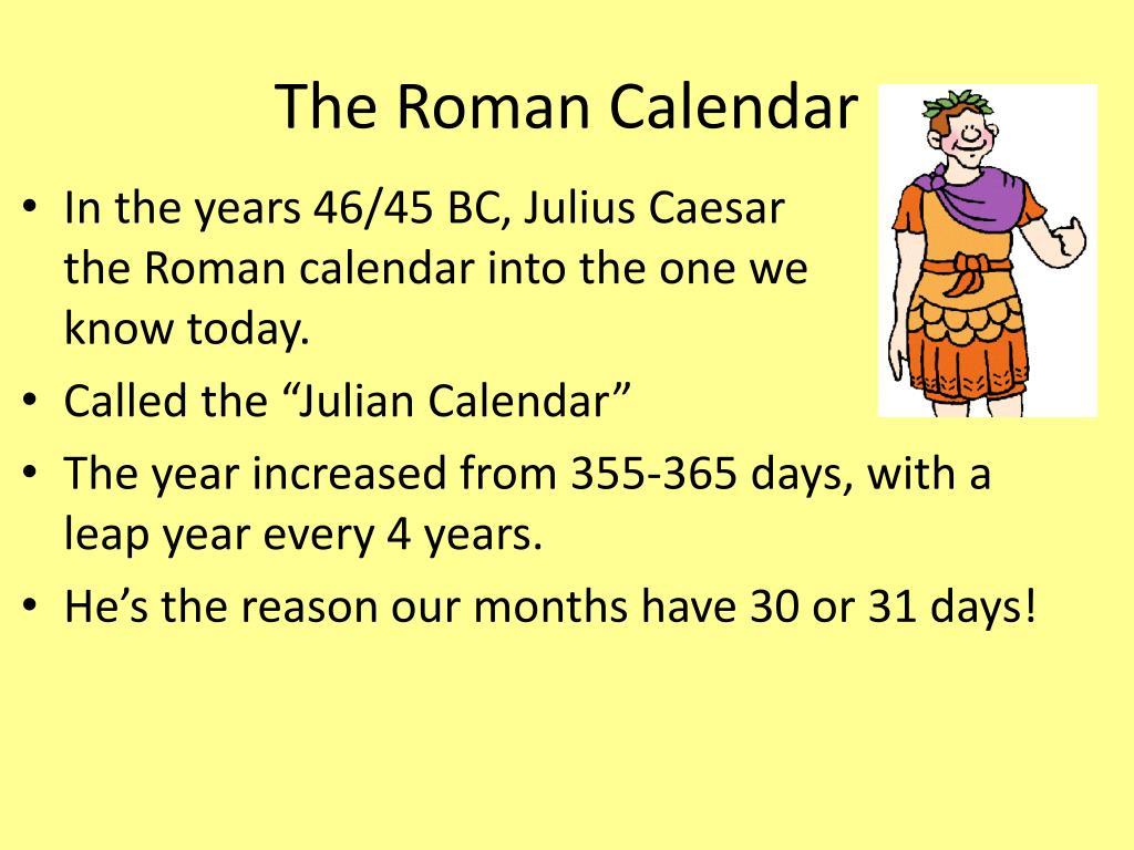 Roman Calendar.Ppt Roman Calendar Powerpoint Presentation Id 4642659