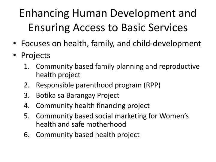 Enhancing Human Development and Ensuring Access to Basic Services