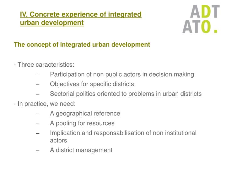 The concept of integrated urban development