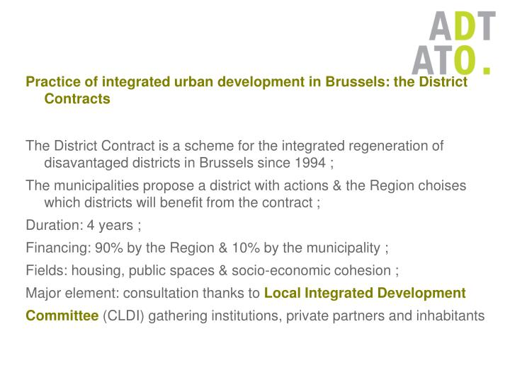 Practice of integrated urban development in Brussels: the District Contracts