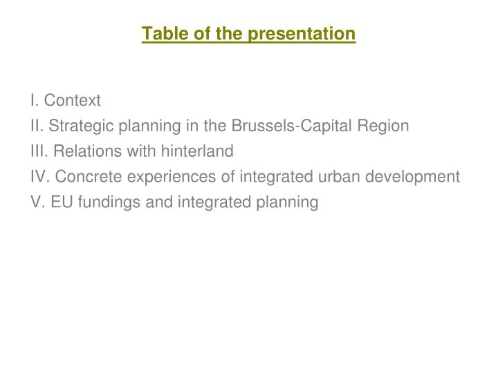 Table of the presentation