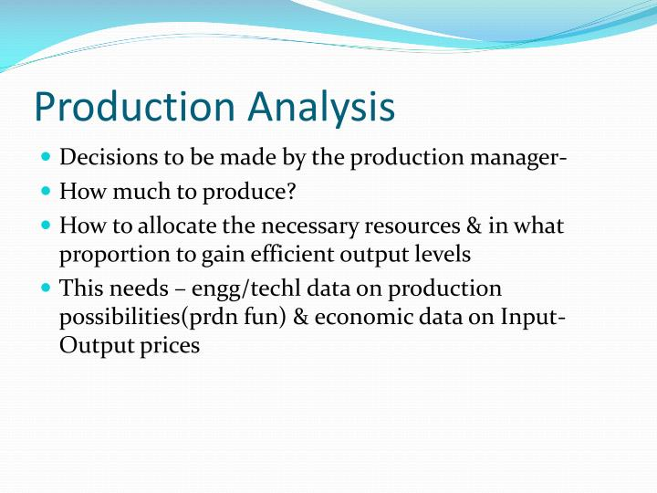 production analysis n.