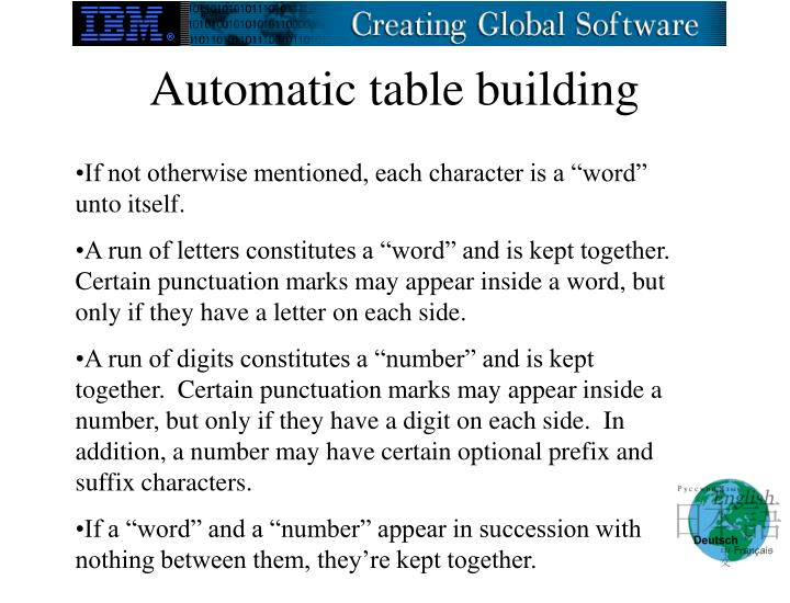 Automatic table building