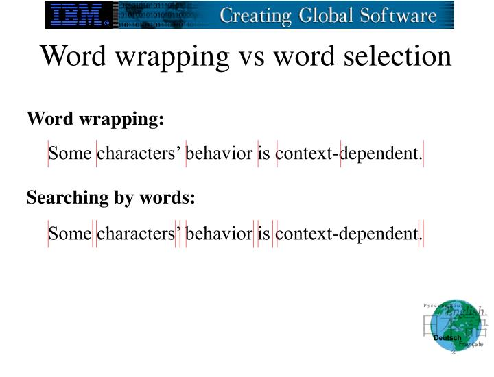 Word wrapping vs word selection