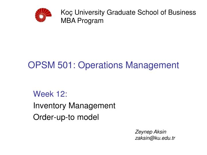 operations and supply chain management week