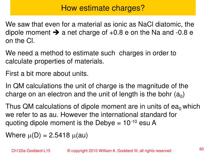 How estimate charges?