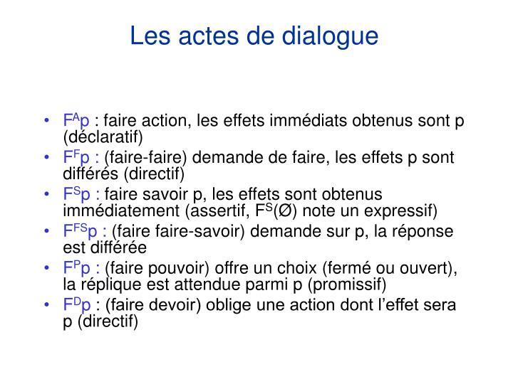 Les actes de dialogue