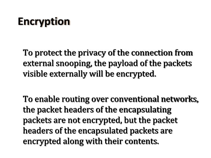 To protect the privacy of the connection from external snooping, the payload of the packets visible externally will be encrypted.