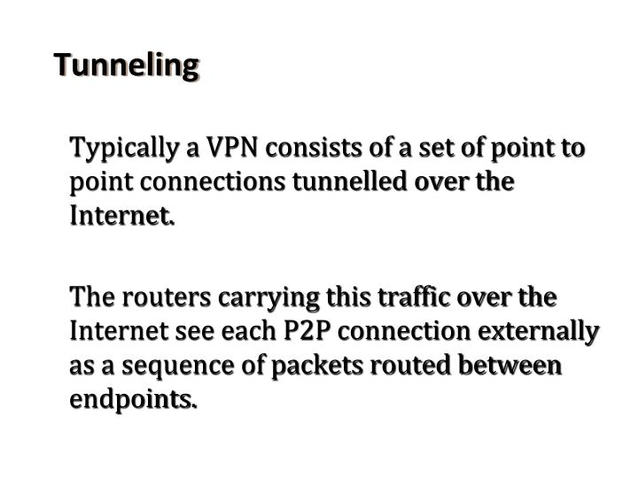 Typically a VPN consists of a set of point to point connections tunnelled over the Internet.