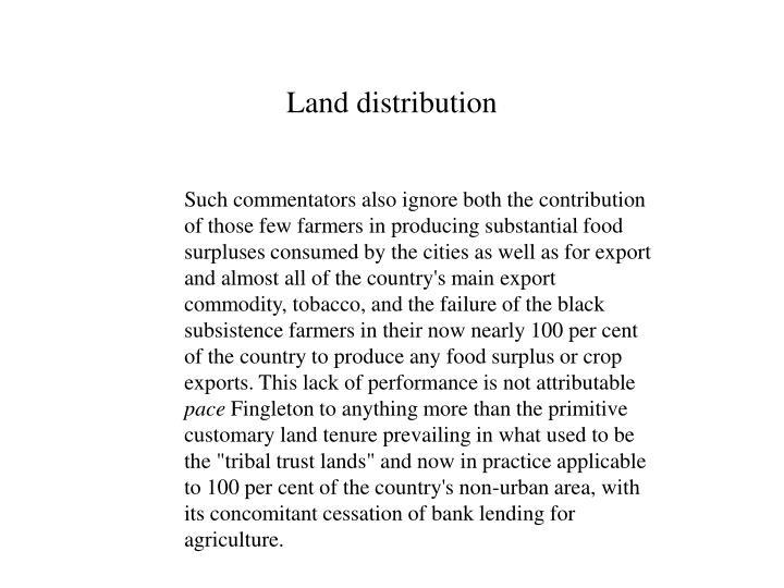 Land distribution