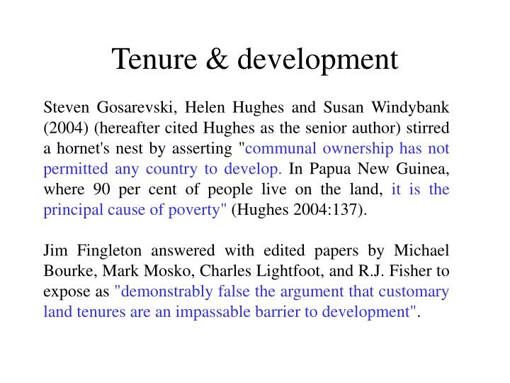 Tenure development