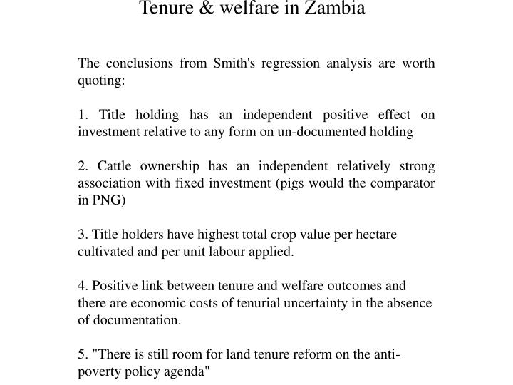 Tenure & welfare in Zambia