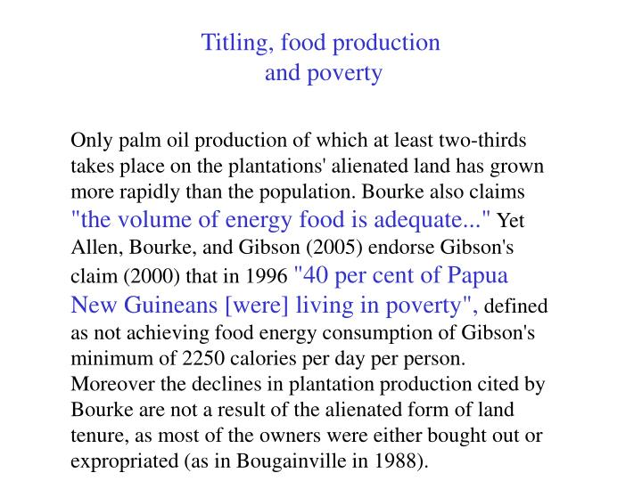 Titling, food production