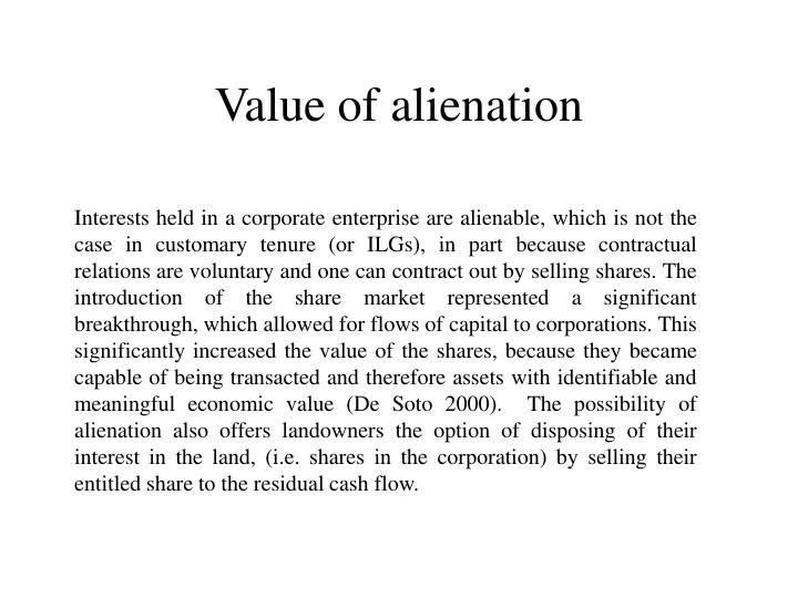 Value of alienation