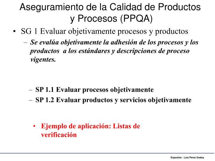 Aseguramiento de la Calidad de Productos