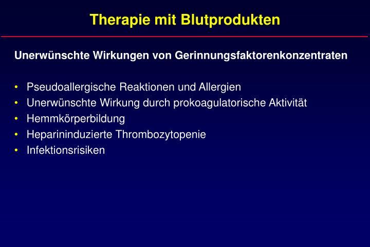 Therapie mit Blutprodukten