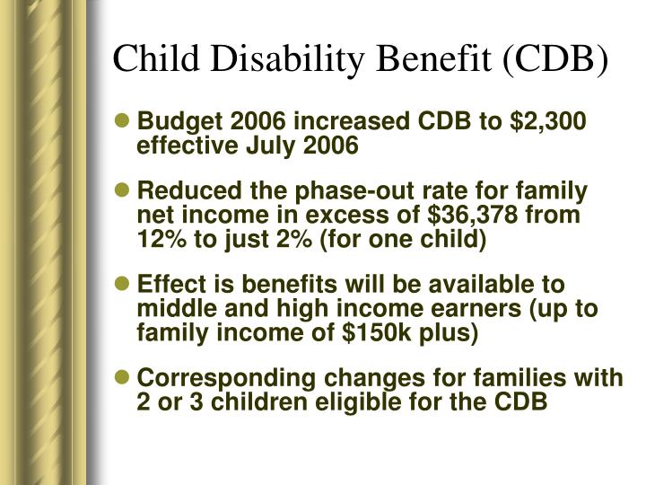 Child Disability Benefit (CDB)