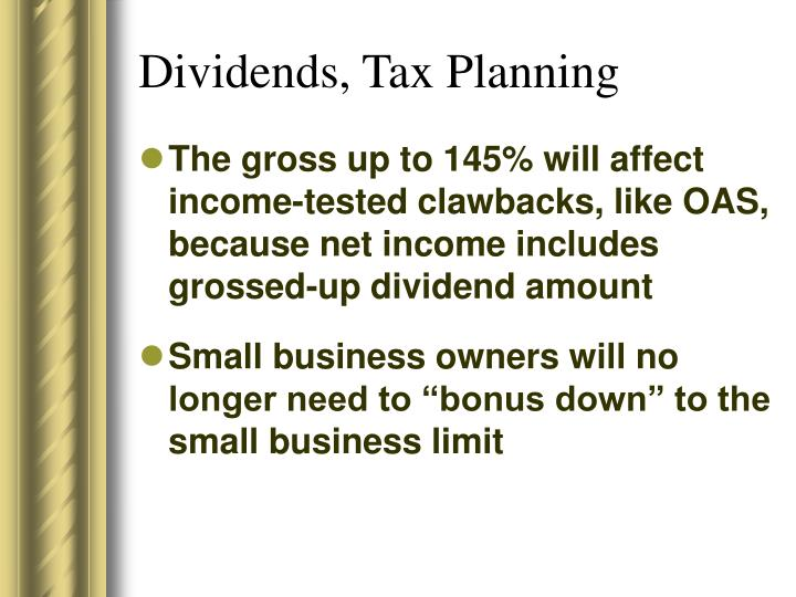 Dividends, Tax Planning
