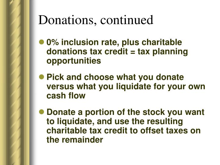 Donations, continued