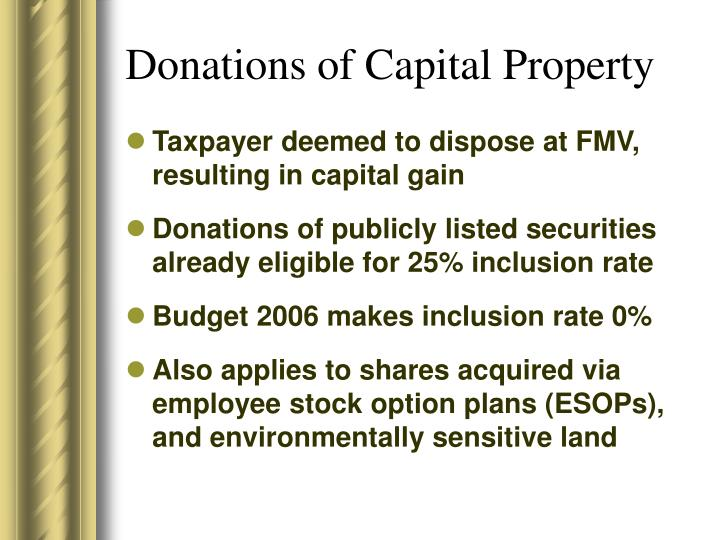Donations of Capital Property