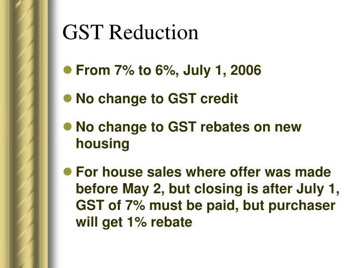 GST Reduction
