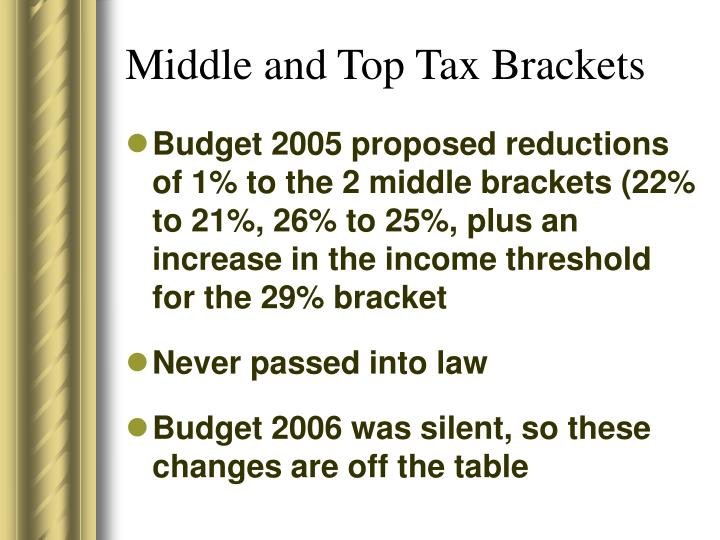 Middle and Top Tax Brackets