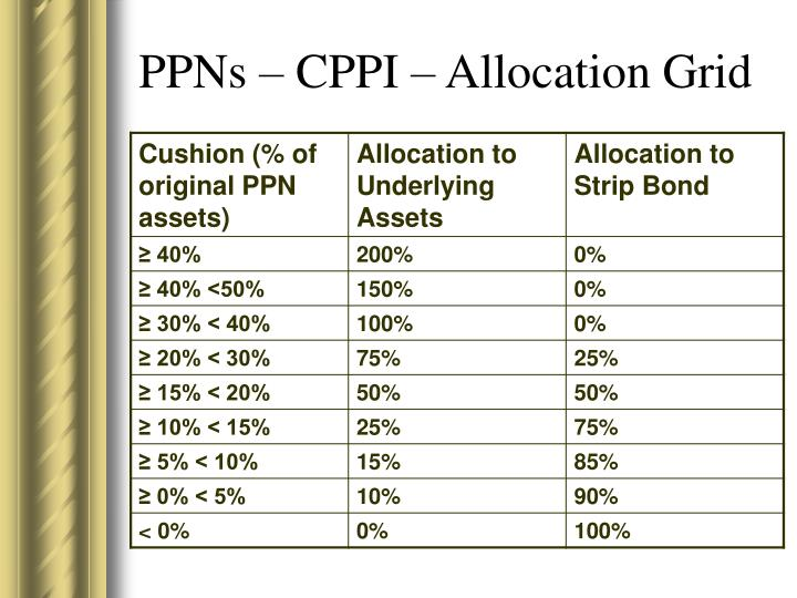 PPNs – CPPI – Allocation Grid